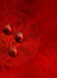 Illustrazione rossa di natale con le sfere Immagine Stock
