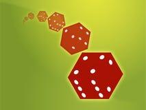 Illustrazione rossa di rotolamento dei dadi Immagini Stock Libere da Diritti