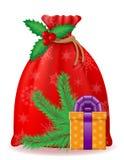 Illustrazione rossa di vettore del Babbo Natale della borsa di natale Immagini Stock Libere da Diritti