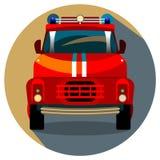 Illustrazione rossa di vettore del camion dei vigili del fuoco Immagine Stock Libera da Diritti