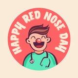 Illustrazione rossa di vettore di giorno del naso Medico divertente del fumetto nel cerchio con iscrizione Immagine Stock Libera da Diritti
