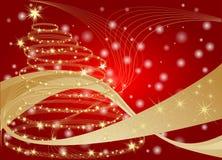 Illustrazione rossa e dorata del fondo di Natale illustrazione di stock