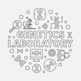 Illustrazione rotonda del profilo di vettore del laboratorio della genetica illustrazione di stock