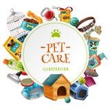 Illustrazione rotonda della struttura degli accessori di cura di animale domestico royalty illustrazione gratis