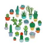 Illustrazione rotonda di vettore dei succulenti e dei cactus Immagine Stock