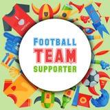 Illustrazione rotonda di vettore del modello del sostenitore della squadra di football americano Attributo del tifoso di calcio,  royalty illustrazione gratis