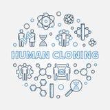 Illustrazione rotonda di vettore della clonazione umana nello stile del profilo illustrazione di stock