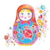 Illustrazione russa sveglia della bambola Immagini Stock Libere da Diritti