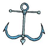 Illustrazione rustica della mano dell'ancoraggio blu Fotografia Stock Libera da Diritti
