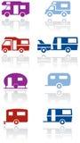 Illustrazione s di simbolo del furgone di campeggiatore o del caravan Immagini Stock