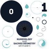 Illustrazione sacra di vettore di simboli di numerologia e della geometria Fotografie Stock