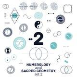 Illustrazione sacra di vettore di simboli di numerologia e della geometria Fotografia Stock