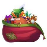Illustrazione: Santa Claus Lost la sua borsa del regalo Fotografie Stock Libere da Diritti