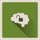 Illustrazione sbloccata del cervello su fondo verde con ombra Immagine Stock