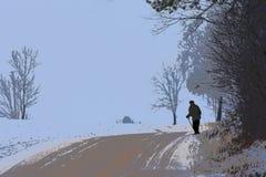 Illustrazione Scena rurale Uomo anziano che cammina vicino alla casa immagini stock