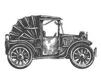 Illustrazione, schizzo Retro automobile isolata su bianco Immagini Stock