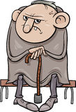 Illustrazione scontrosa del fumetto dell'uomo anziano Fotografie Stock Libere da Diritti
