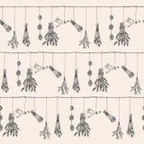 Illustrazione a secco disegnata a mano della ghirlanda delle piante e dell'erba dentro Fotografia Stock Libera da Diritti