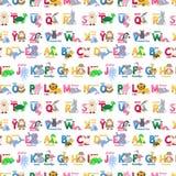 Illustrazione selvaggia dei caratteri del modello di alfabeto degli animali dello zoo di ABC del fumetto sveglio senza cuciture d illustrazione vettoriale