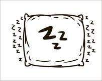 Illustrazione semplice di schizzo del cuscino disegnato a mano di vettore su fondo bianco illustrazione di stock