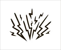 Illustrazione semplice di schizzo del fulmine su fondo bianco illustrazione vettoriale