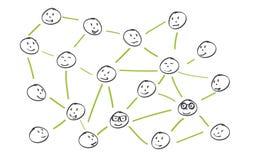 Illustrazione semplificata di una rete sociale immagini stock