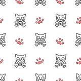 Illustrazione senza cuciture bianca del fumetto e rossa nera del fondo del modello con il cranio e la zampa del gatto Fotografie Stock