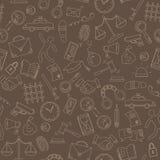 Illustrazione senza cuciture con le icone disegnate a mano sul tema di legge ed i crimini, profilo beige su un fondo marrone royalty illustrazione gratis
