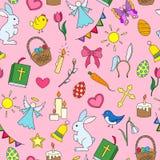 Illustrazione senza cuciture con le icone semplici su un tema la festa di Pasqua, icone colorate su fondo rosa Fotografia Stock Libera da Diritti