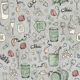 Illustrazione senza cuciture d'annata di schizzo del vino Immagine Stock