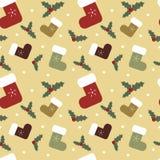 Illustrazione senza cuciture del fondo del modello dei calzini variopinti del fumetto di Natale con il vischio Immagine Stock Libera da Diritti