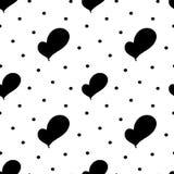 Illustrazione senza cuciture del modello del cuore del nero di tiraggio della mano Fotografia Stock