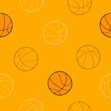 Illustrazione senza cuciture del modello del fondo arancio di arte grafica della palla di sport di pallacanestro Fotografia Stock Libera da Diritti