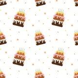 Illustrazione senza cuciture del modello della torta di compleanno variopinta del fumetto Fotografia Stock