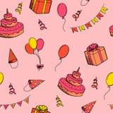 Illustrazione senza cuciture del modello di colore di arte grafica di celebrazione di buon compleanno Immagine Stock