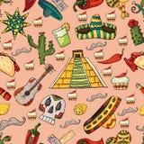 Illustrazione senza cuciture del modello sul ele isolato del messicano del fondo royalty illustrazione gratis