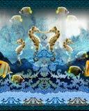 Illustrazione senza cuciture delle creature del mare di alta qualità del modello Immagine Stock