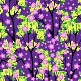 Illustrazione senza cuciture di fioritura di vettore del modello degli alberi Immagine Stock