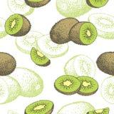 Illustrazione senza cuciture di schizzo del modello di colore grafico del kiwi Fotografie Stock Libere da Diritti