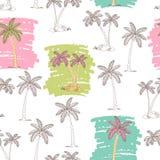 Illustrazione senza cuciture di schizzo del modello di colore rosa verde grafico della palma Immagini Stock