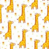 Illustrazione senza cuciture di vettore con le giraffe Fotografia Stock Libera da Diritti