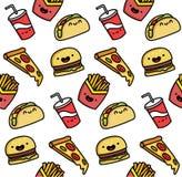 Illustrazione senza cuciture di vettore degli alimenti a rapida preparazione del fumetto divertente Il modello è alimento sveglio Immagine Stock