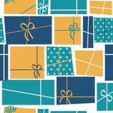 Illustrazione senza cuciture di vettore del fondo del modello di festa del contenitore di regalo Fotografie Stock