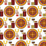 Illustrazione senza cuciture di vettore del fondo del modello del gioco del poker dello slot machine del burlone del giocatore de Fotografia Stock