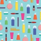 Illustrazione senza cuciture di vettore del modello dei prodotti cosmetici femminili di cura Fotografia Stock