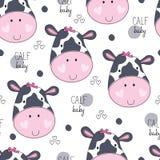 Illustrazione senza cuciture di vettore del modello del bambino del vitello della mucca Fotografia Stock