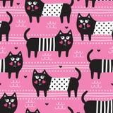 Illustrazione senza cuciture di vettore del modello del gatto nero Immagini Stock Libere da Diritti