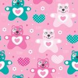 Illustrazione senza cuciture di vettore del modello dell'orsacchiotto Fotografia Stock