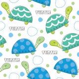 Illustrazione senza cuciture di vettore del modello della tartaruga Immagine Stock Libera da Diritti