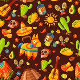 Illustrazione senza cuciture di vettore del modello delle icone del Messico Fotografie Stock